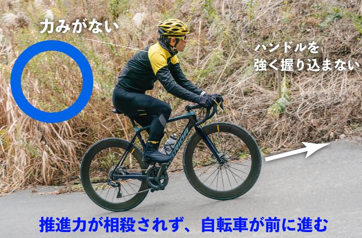 ハンドルを握り込まないようにすれば自転車は前に進んでくれる