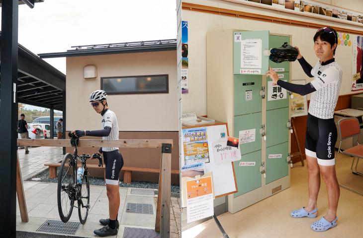 鳥取砂丘にはサイクルラックとコインロッカーがある