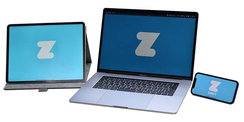 バーチャルライドを楽しむには、ズイフトなどのアプリをインストールしたパソコンやタブレット、スマートフォンなどが必要