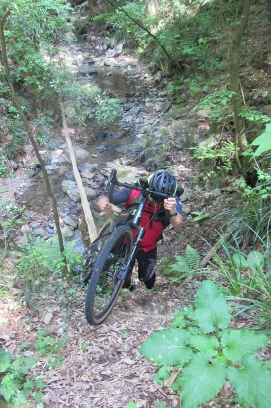 自転車を杖代わりにしてほぼ垂直の壁を上る