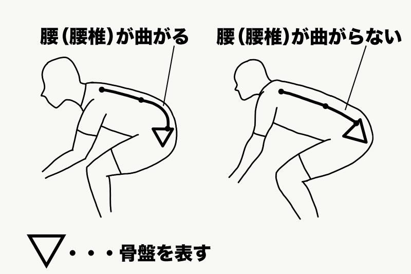 腰(腰椎)が曲がるかどうかを表したイラスト