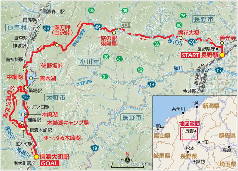 信州・木崎湖自転車キャンプのルートマップ