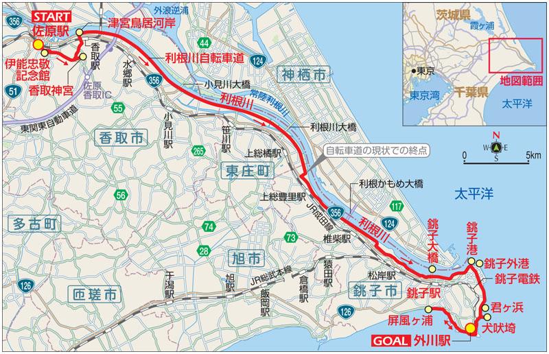 佐原・銚子サイクリングのマップ